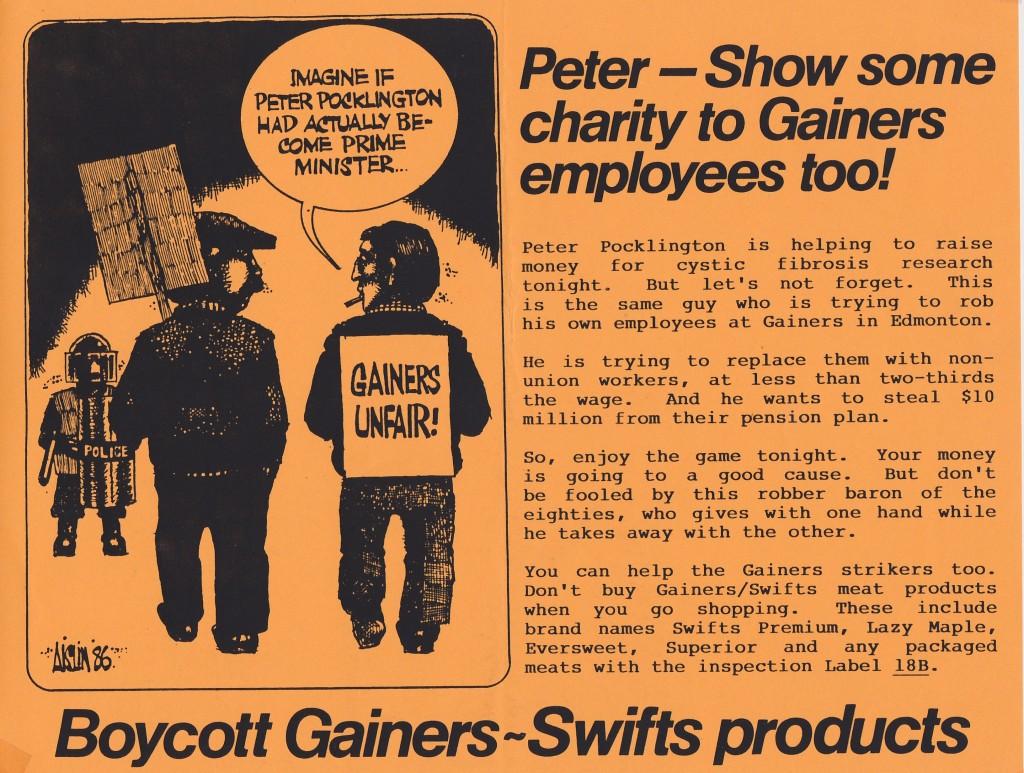 Gainers leaflet Ottawa Sep 19 1986