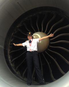 Judy Cameron in front of a 777 engine